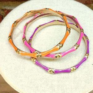 Jewelry - Orange, pink and purple enamel bangle set NWOT